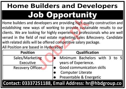 Home Builders & Developers Hyderabad Jobs 2021