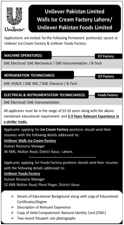 Unilever Pakistan Foods Limited Jobs For Technical Staff