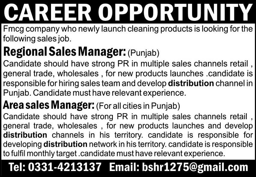 Regional Sales Manager & Area Sales Manager Jobs 2021
