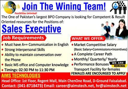Sales Executive Job 2021 in Faisalabad