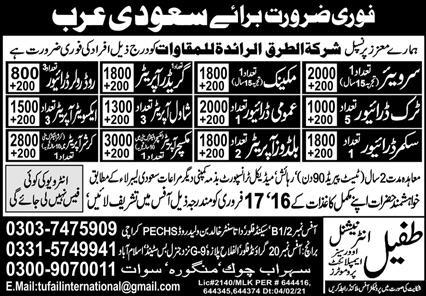 Construction Labors Jobs 2021 For Saudi Arabia