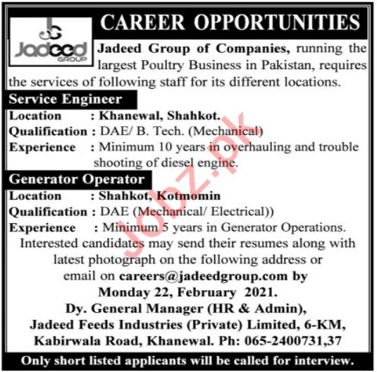 Jadeed Group of Companies Jobs 2021 for Service Engineer
