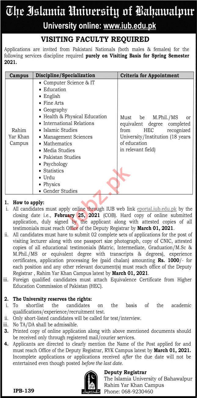 The Islamia University of Bahawalpur IUB Jobs 2021