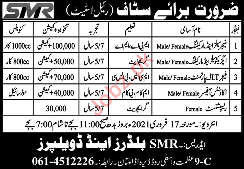 Manager Sales & Executive Sales Jobs 2021 in SMR Builders