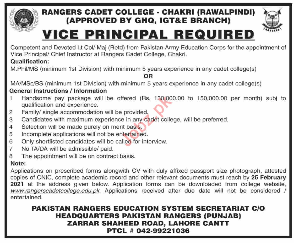 Rangers Cadet College Chakri Jobs 2021 for Vice Principal