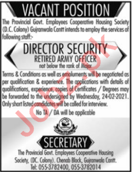 Provincial Govt Employees Cooperative Housing Society Jobs