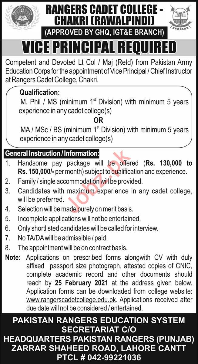 Vice Principal Jobs 2021 in Rangers Cadet College Chakri