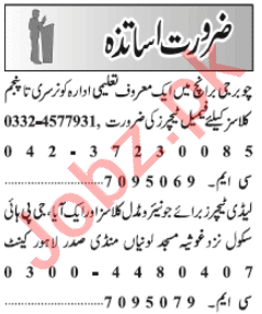 Teacher & Coordinator Jobs 2021 in Lahore