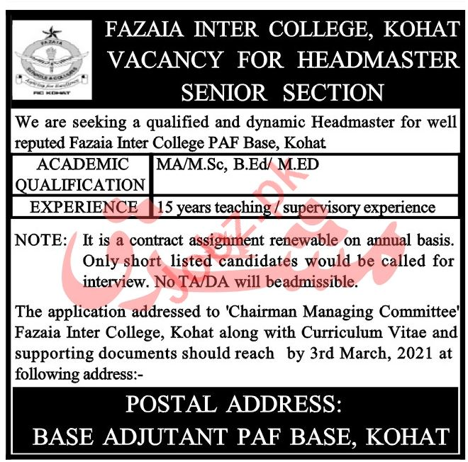 Fazaia Inter College Kohat Jobs 2021 for Headmaster