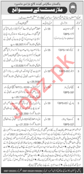 Pakistan Scouts Cadet College Batrasi Jobs 2021 for Lecturer