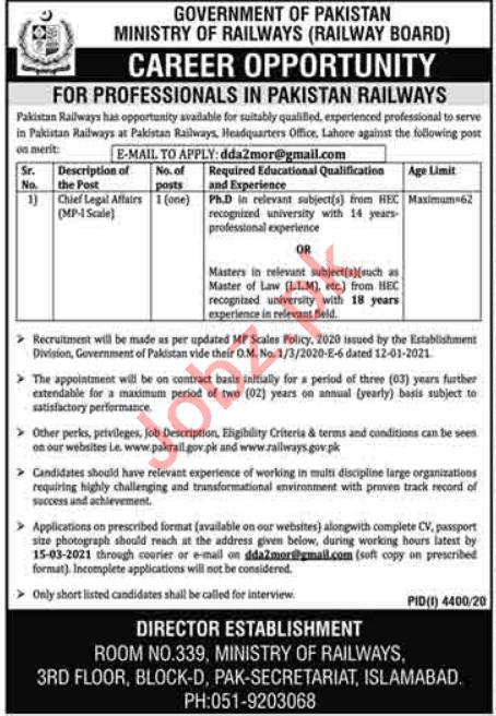 Chief Legal Affairs Jobs 2021 Ministry of Railways Islamabad