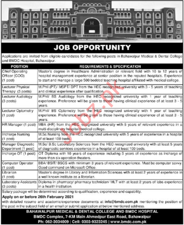 Bahawalpur Medical & Dental College BMDC Jobs 2021