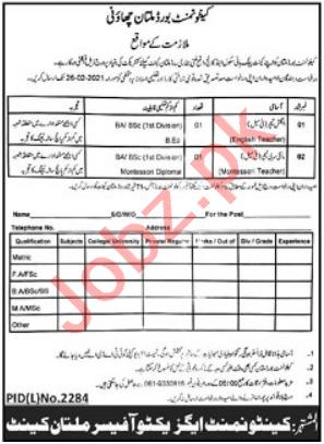 Teachers Jobs in Cantt Public High School & College Multan
