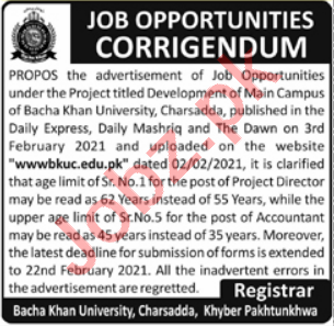 Bacha Khan University Charsadda BKUC Jobs 2021 for Director