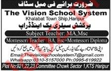 The Vision School System Haripur Jobs 2021 for Teachers