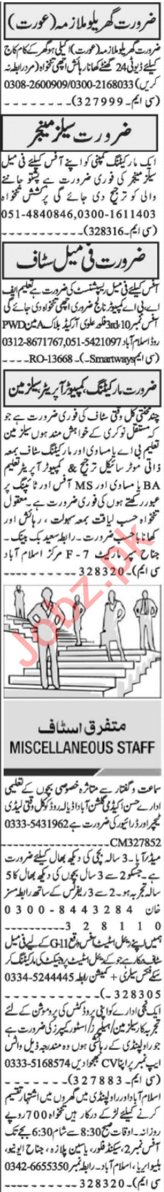Sales Manager & Female Receptionist Jobs 2021 in Islamabad
