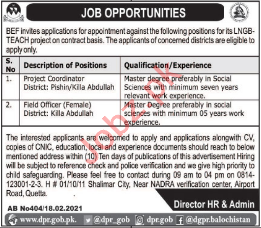 Balochistan Education Foundation BEF Jobs 2021 Coordinator