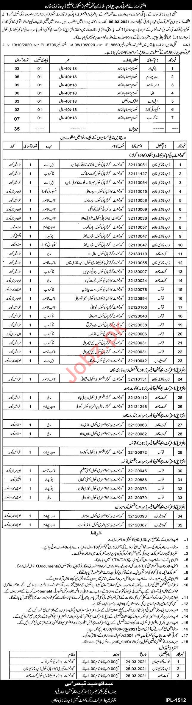 Education Department DEA Dera Ghazi Khan Jobs 2021