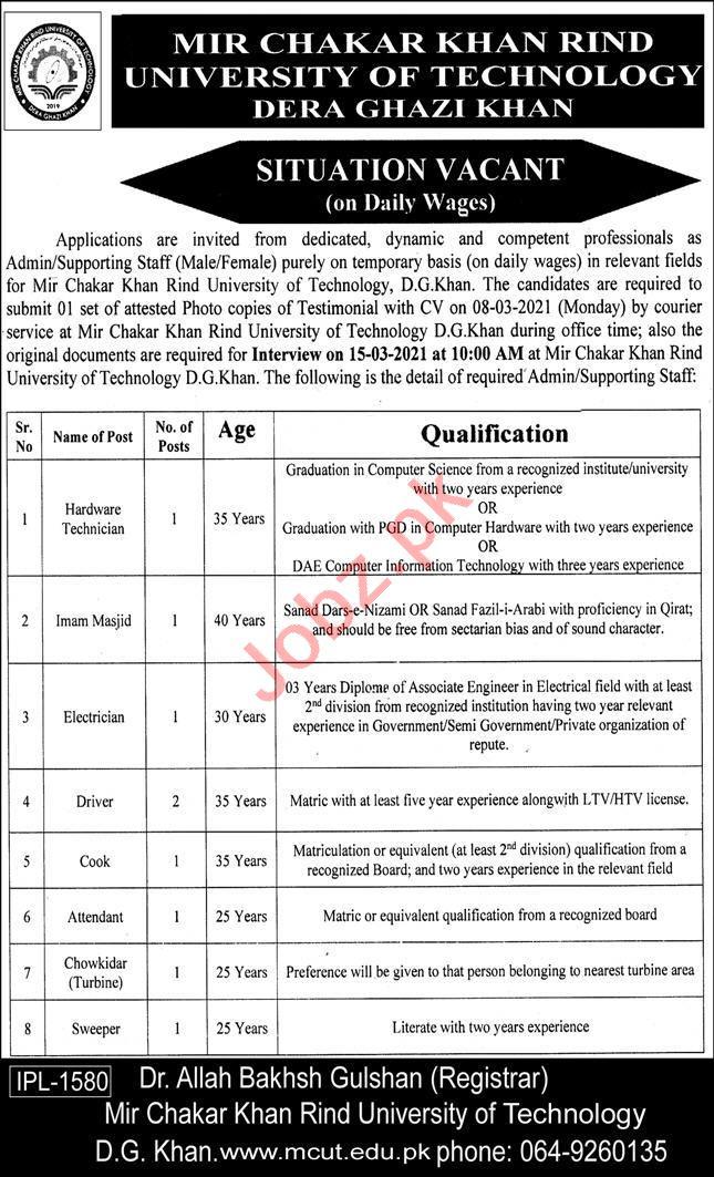 Mir chakar Khan Rind University Dera Ghazi Khan Jobs 2021