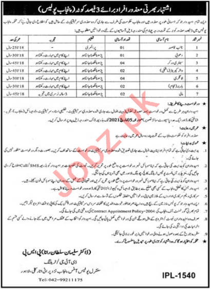 Punjab Police Lahore Jobs 2021 for Water Carrier & Mali