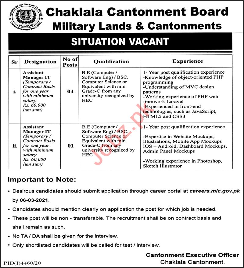 Military Lands & Cantonments Department Chaklala Jobs 2021