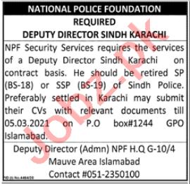 National Police Foundation NPF Karachi Jobs 2021