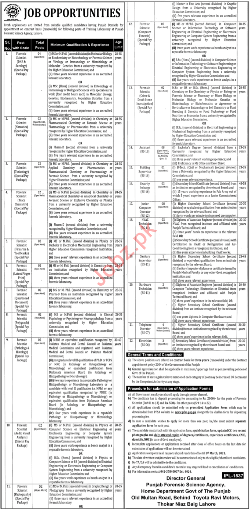 Punjab Forensic Science Agency PFSA Lahore Jobs 2021