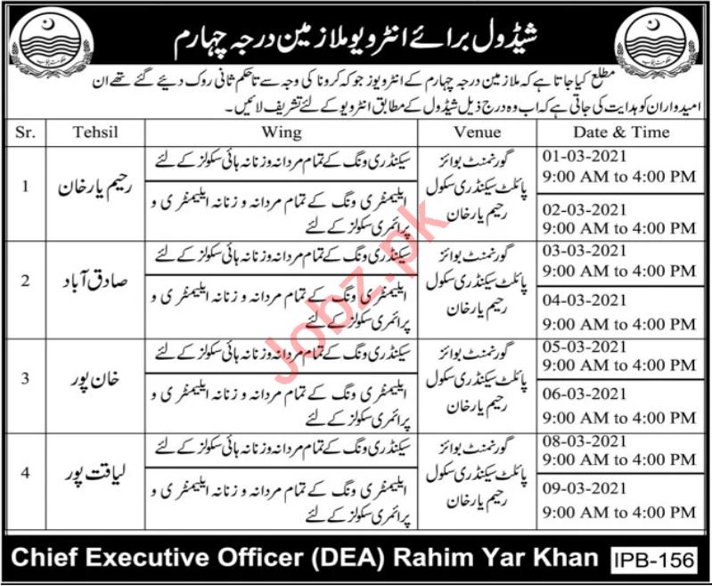 Government Pilot Secondary School Rahim Yar Khan Jobs 2021