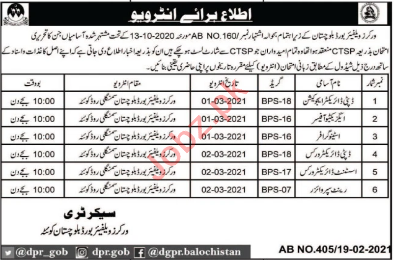 Workers Welfare Board Balochistan Jobs 2021 Deputy Director