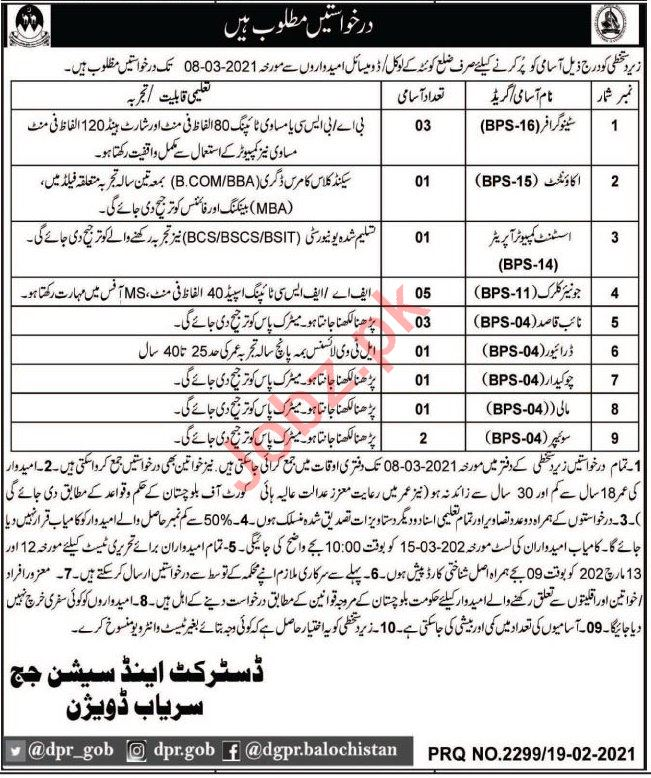District & Session Court Sariab Division Jobs 2021
