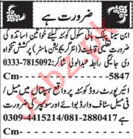 Staff Nurse & Female Teacher Jobs 2021 in Quetta