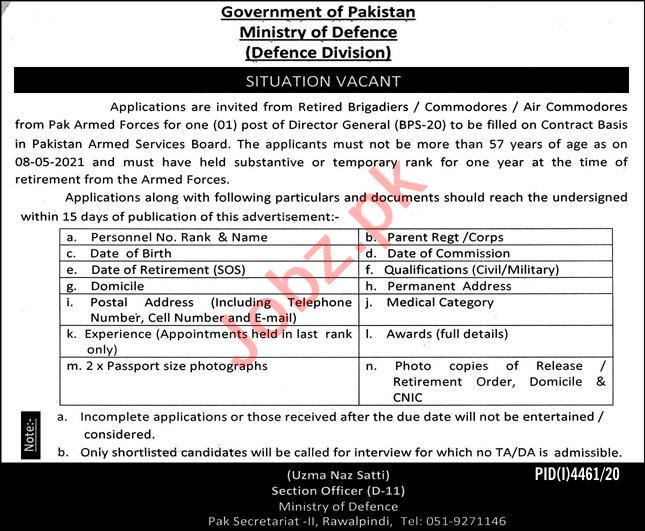 Defence Division Ministry of Defence Rawalpindi Jobs 2021