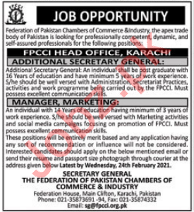 Federation of Pakistan Chambers of Commerce & Industry Jobs