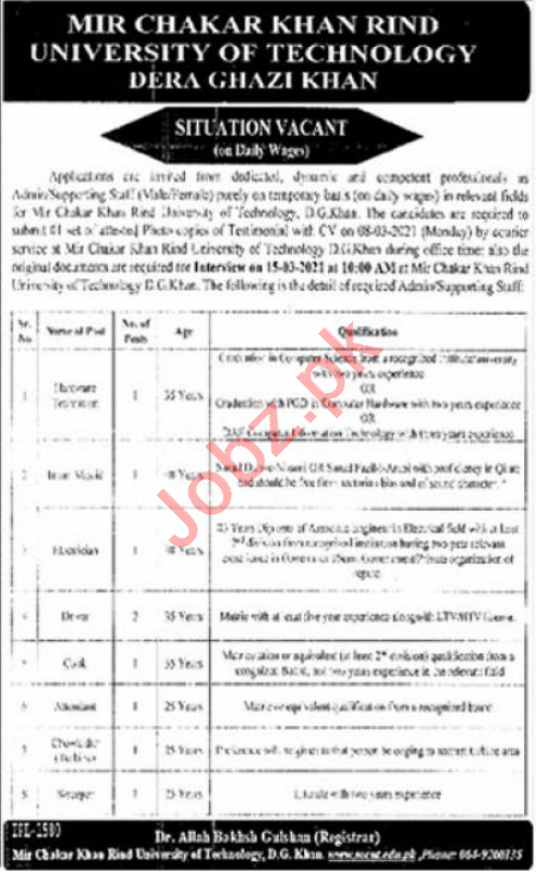 Mir chakar Khan Rind University MCKRU DG Khan Jobs 2021