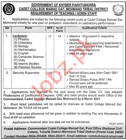Lecturers Jobs 2021 in Cadet College Mamad Gat Mohmand