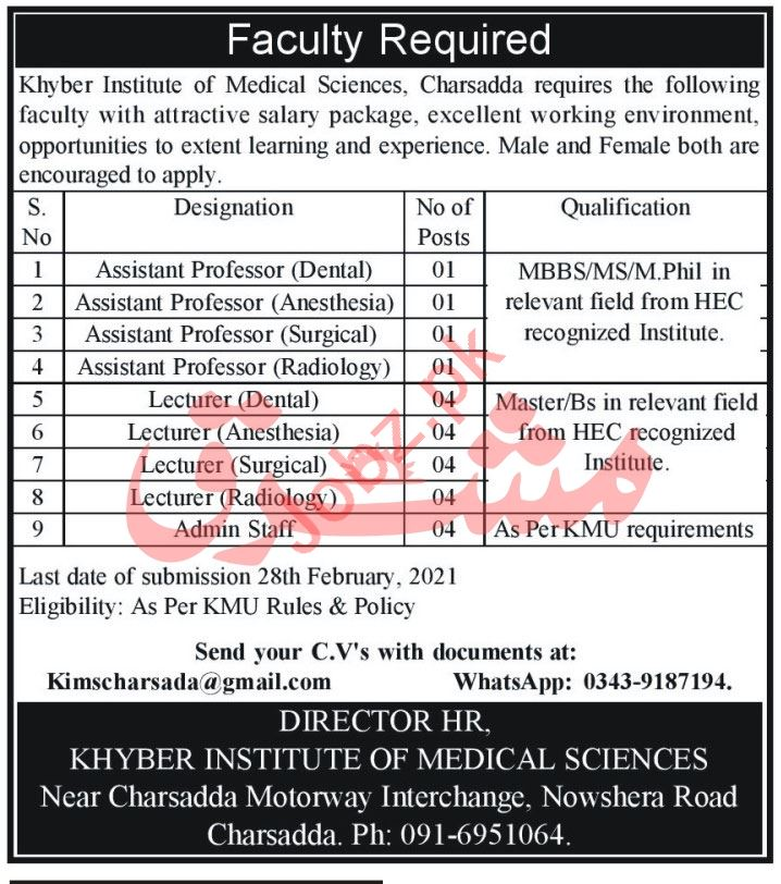 Khyber Institute of Medical Sciences KMU Charsadda Jobs 2021