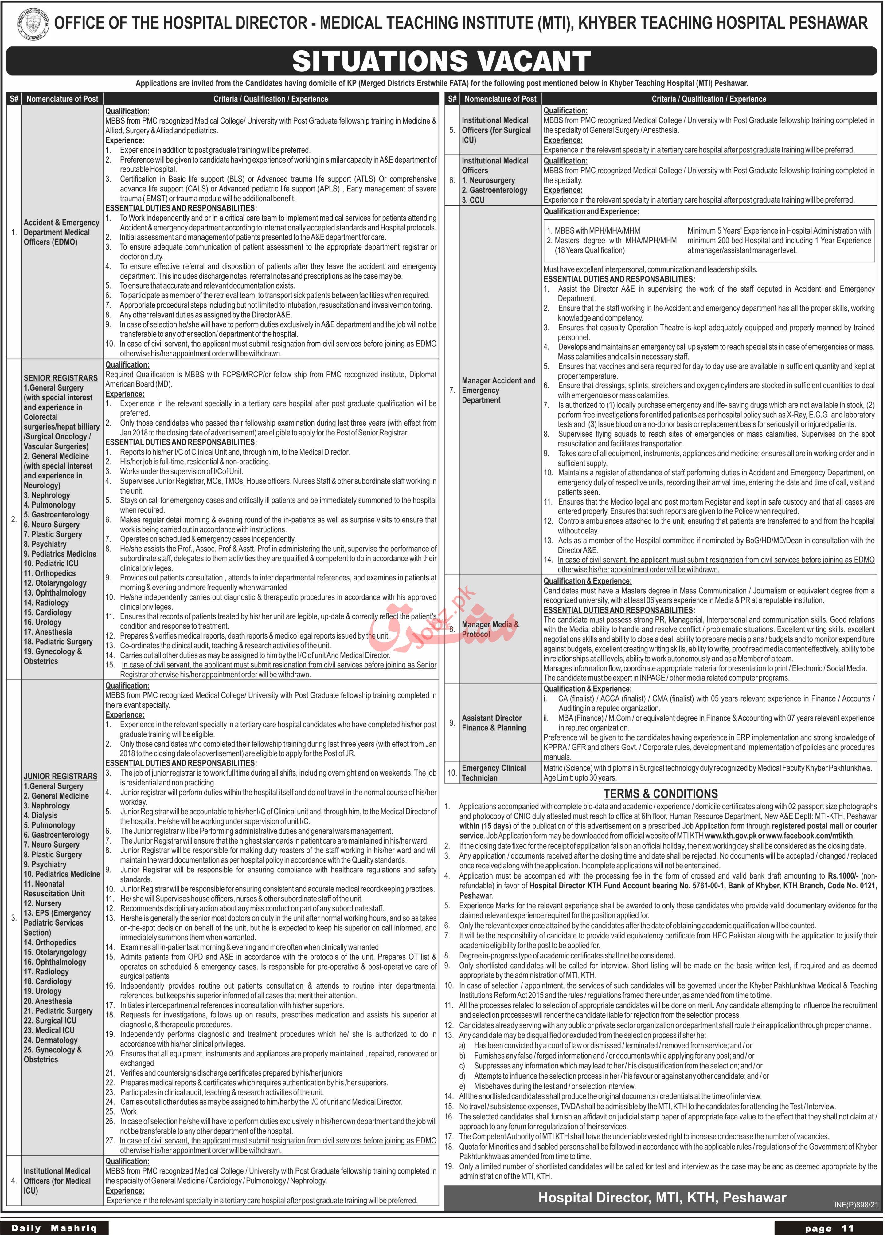 KTH MTI Khyber Teaching Hospital Peshawar Jobs 2021