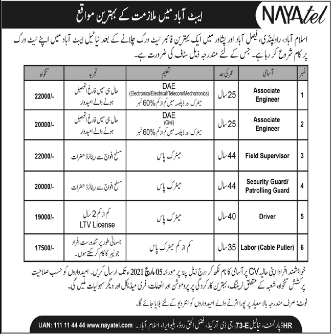 Nayatel Private Limited Jobs 2021 in Abbottabad