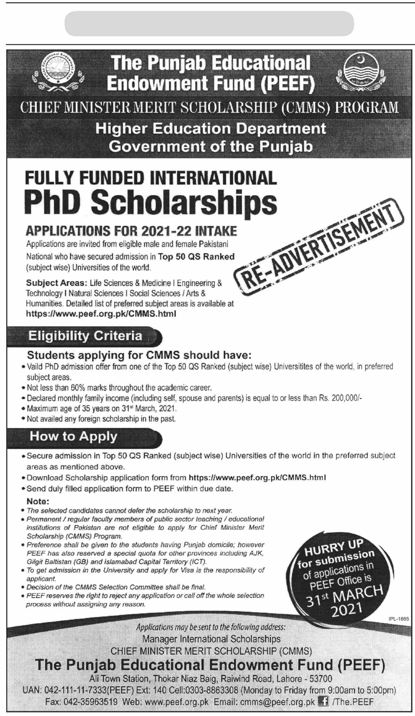 Punjab Educational Endowment Fund PhD Scholarships
