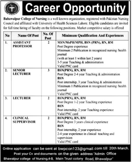 Bahawalpur College of Nursing Jobs 2021 in Bahawalpur