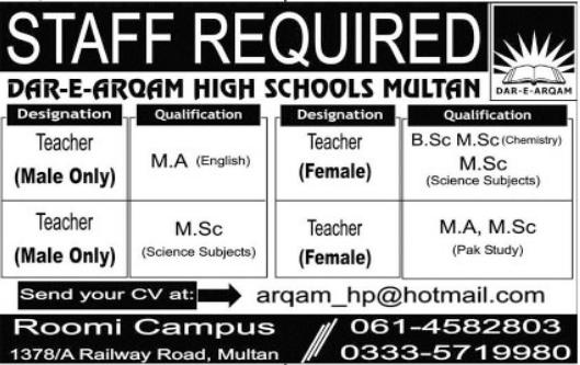 Dar e Arqam High Schools Jobs 2021 For Teaching Staff