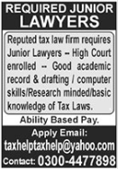 Tax Law Firm Jobs 2021 For Junior Lawyers in Lahore