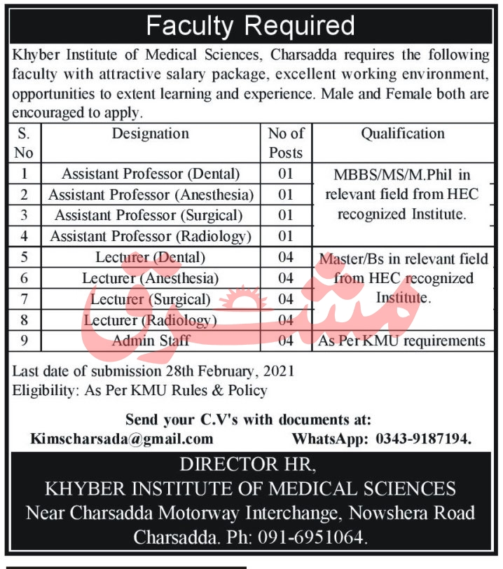 Khyber Institute of Medical Sciences Jobs 2021
