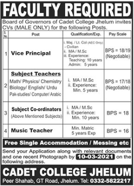 Pakistan Army Cadet College Faculty Jobs 2021 in Jhelum