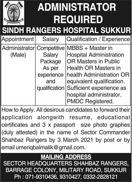 Sindh Rangers Hospital Sukkur Jobs 2021