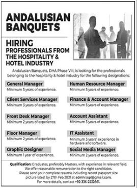 Andalusian Banquets Jobs 2021 in Karachi