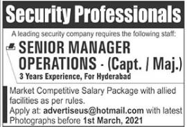 Senior Manager Operations Job 2021 in Hyderabad