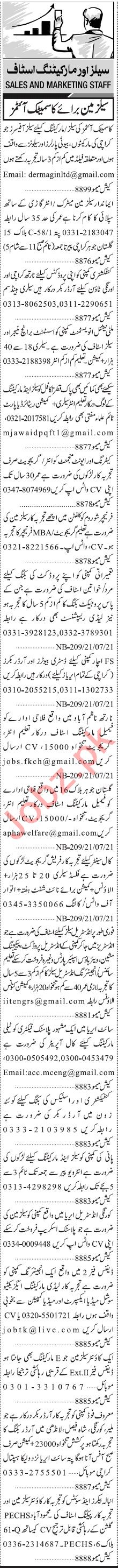 Jang Sunday Classified Ads 21st Feb 2021 for Sales Staff