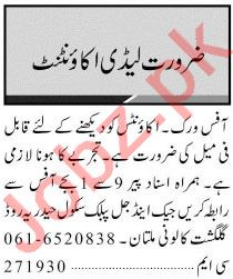 Jang Sunday Classified Ads 21st Feb 2021 for Accounts Staff