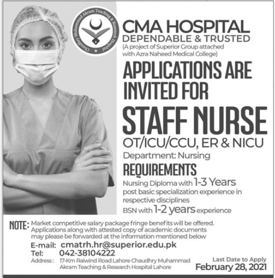 CMA Hospital Jobs 2021 For Staff Nurses in Lahore